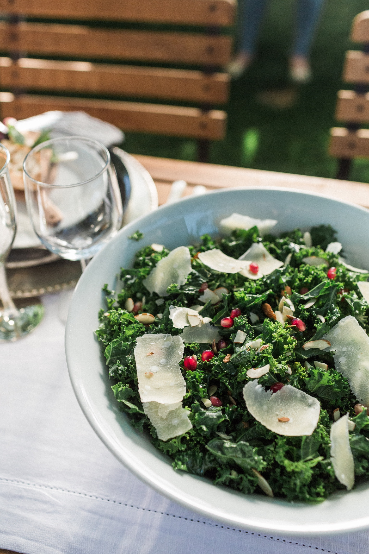 Kale, Pomegranate and Parmesan Salad with Champagne Dijon Vinaigrette