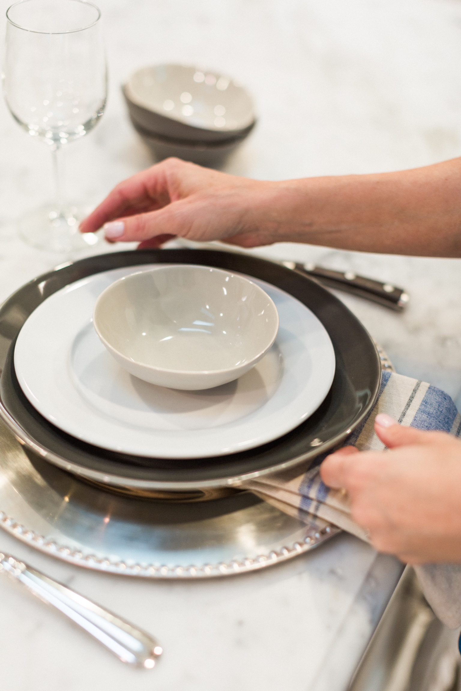 Setting the table for dinner guests