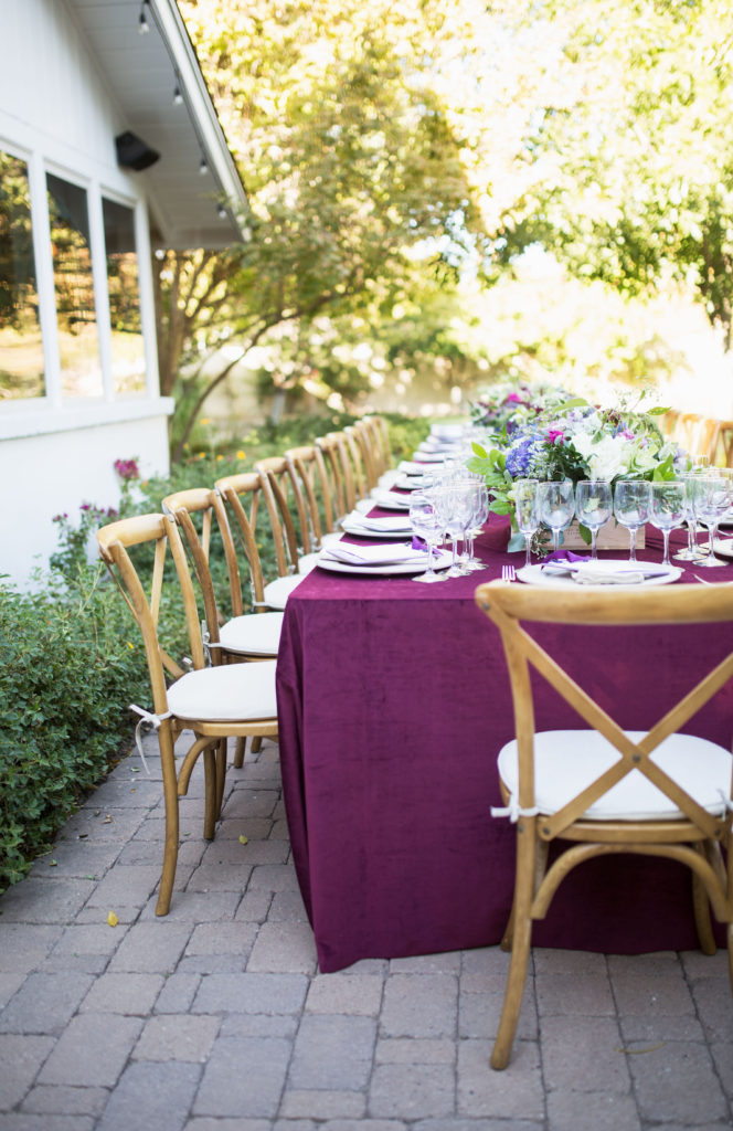 La Tavola luxury velvet tablecloth in Pinot