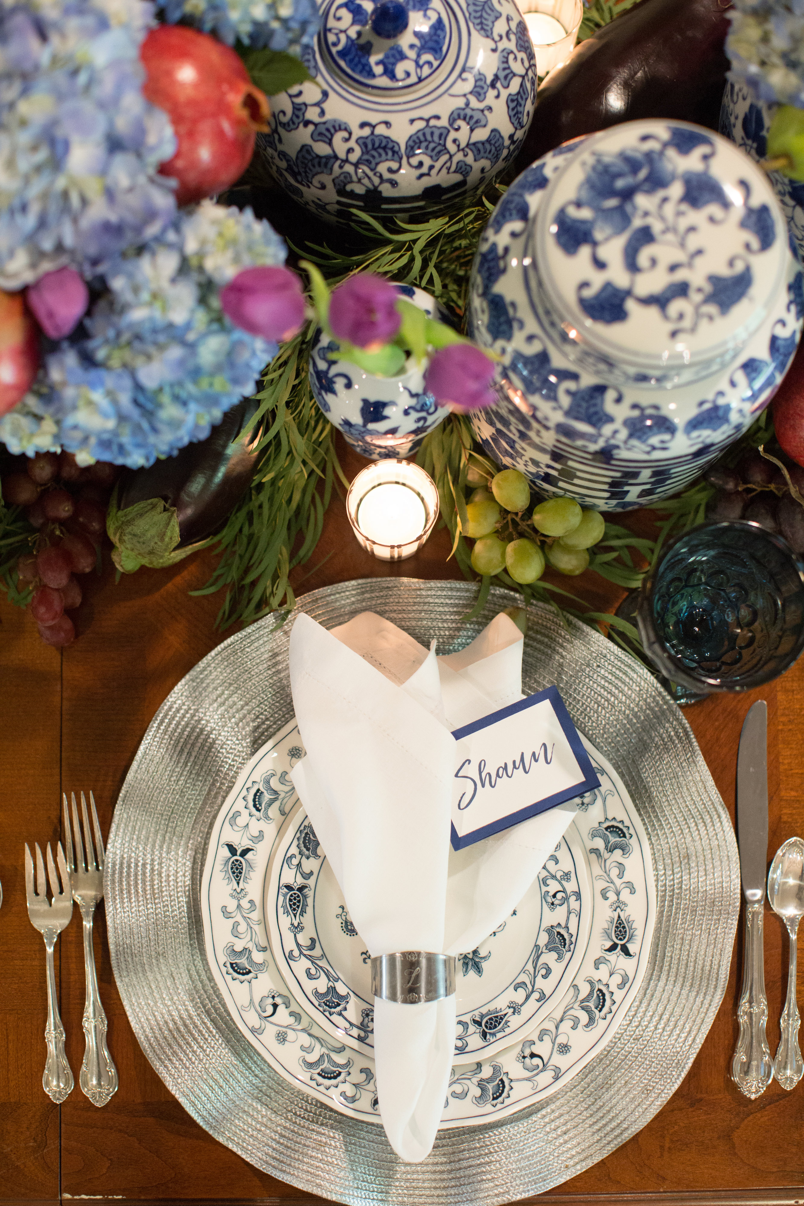Blue and silver place setting