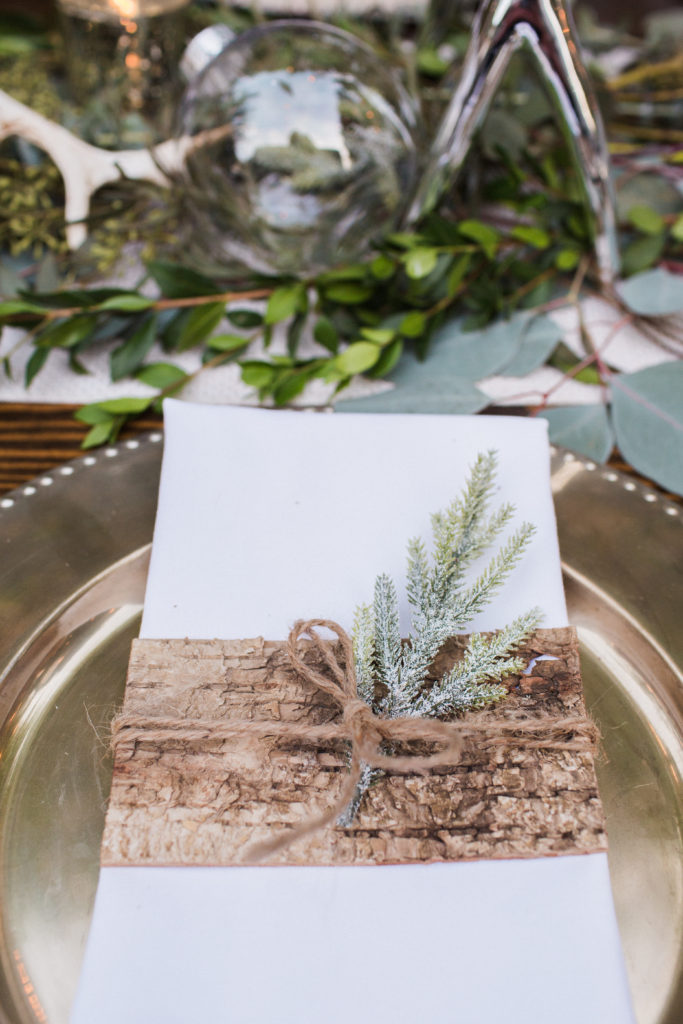 birch wood place setting
