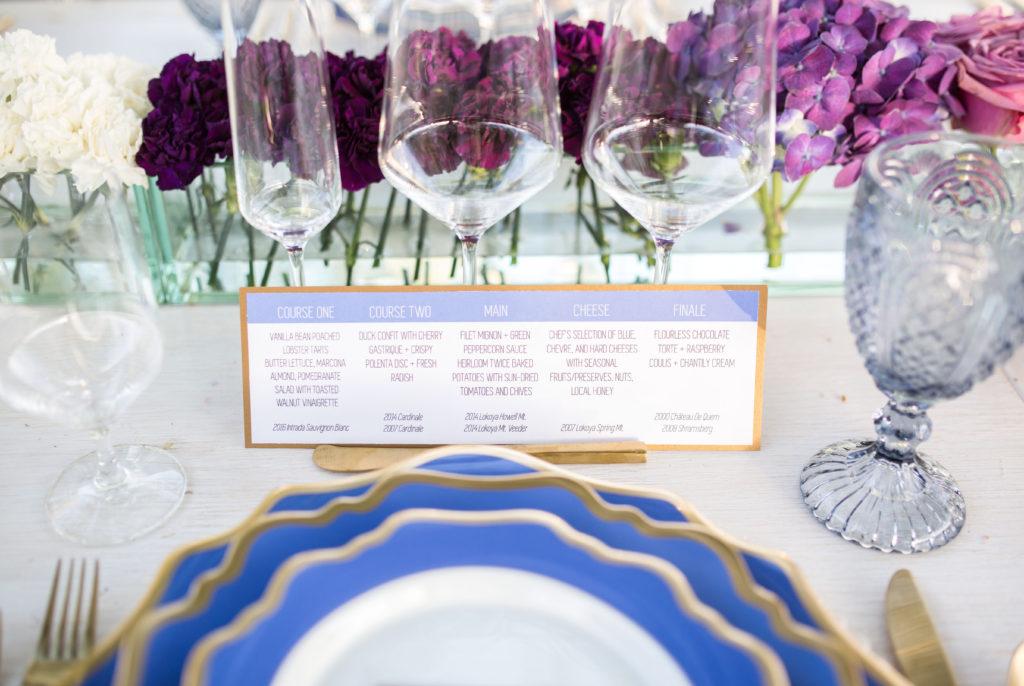 wine pairing dinner menu card