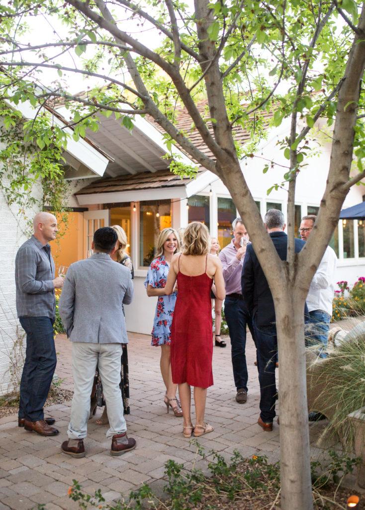 guests at backyard party