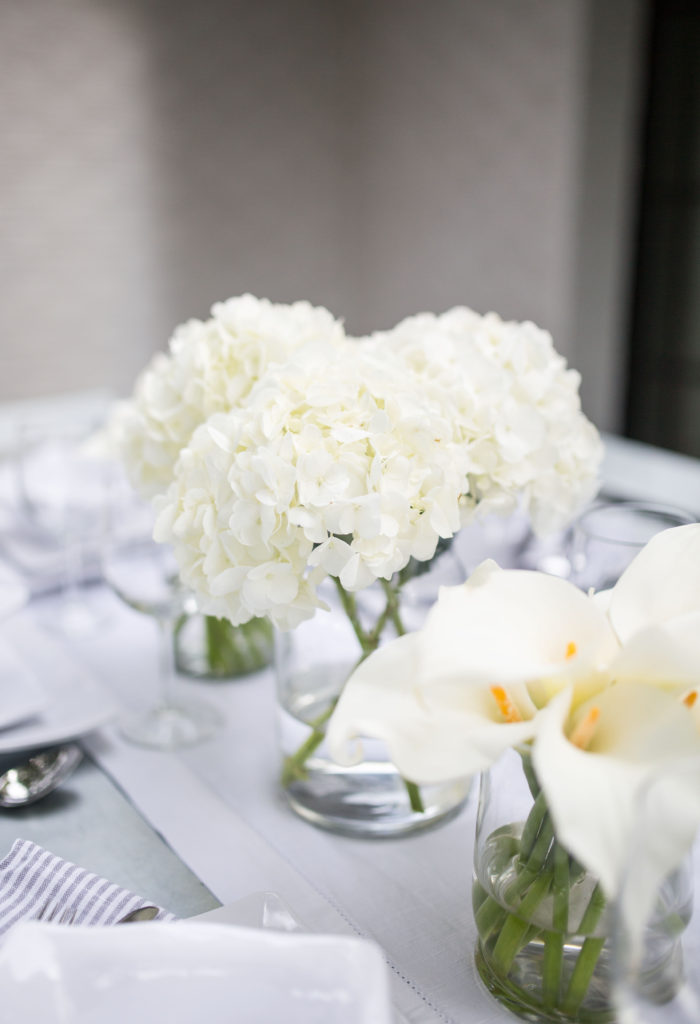 hydrangeas and calla lilies