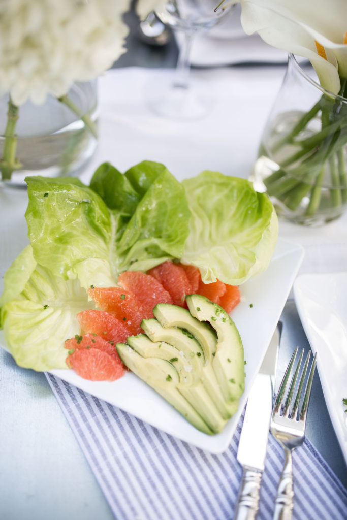 Bibb lettuce with pink grapefruit and avocado in Champagne vinaigrette