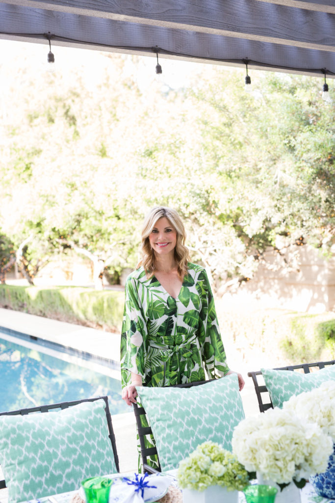 green pillows from Aerin Lauder's collection