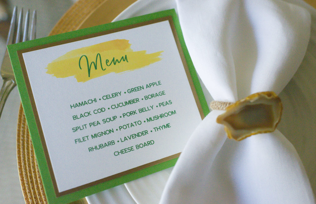 menu cards for wine country chef dinner
