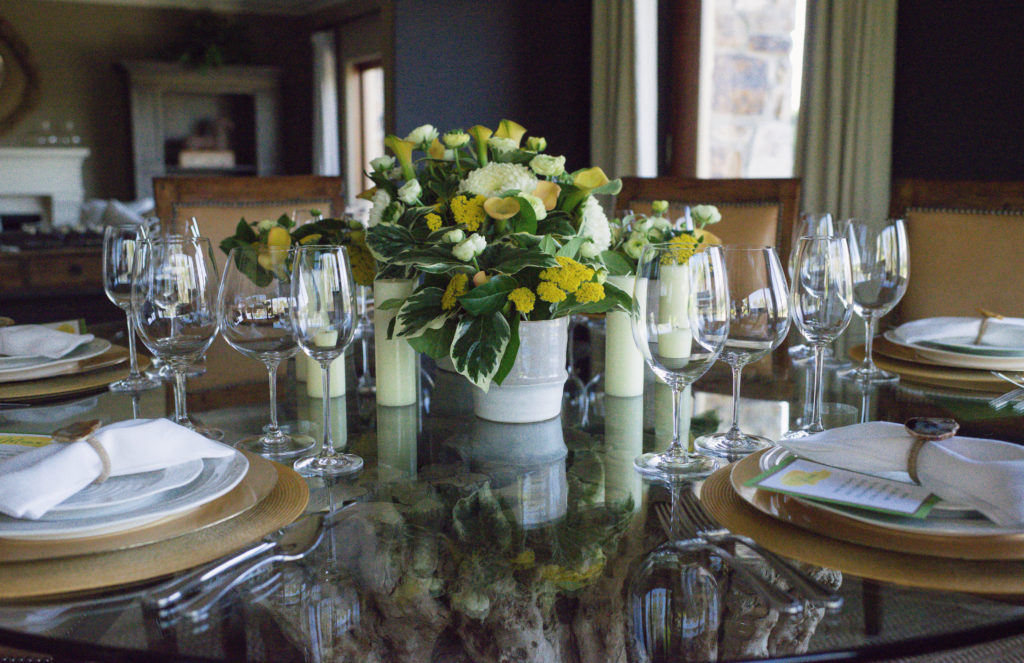 tablescape for wine country chef's dinner