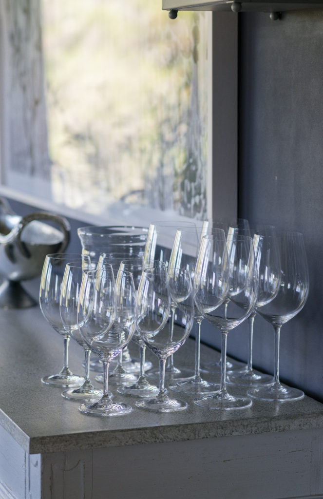 glassware at wine country chef dinner