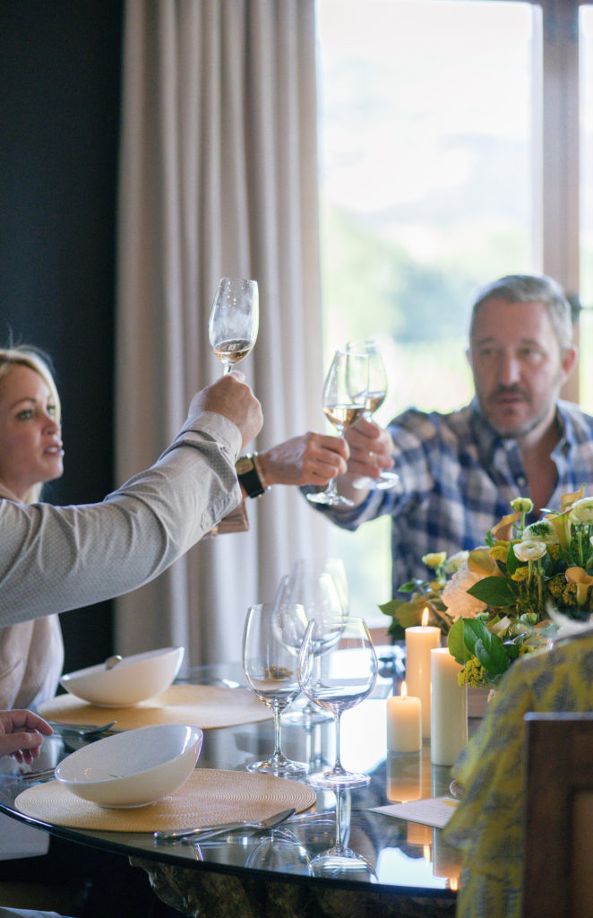 toasting at wine country chef dinner