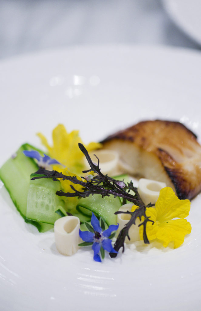 wine country chef dinner: seared black cod with hearts of palm
