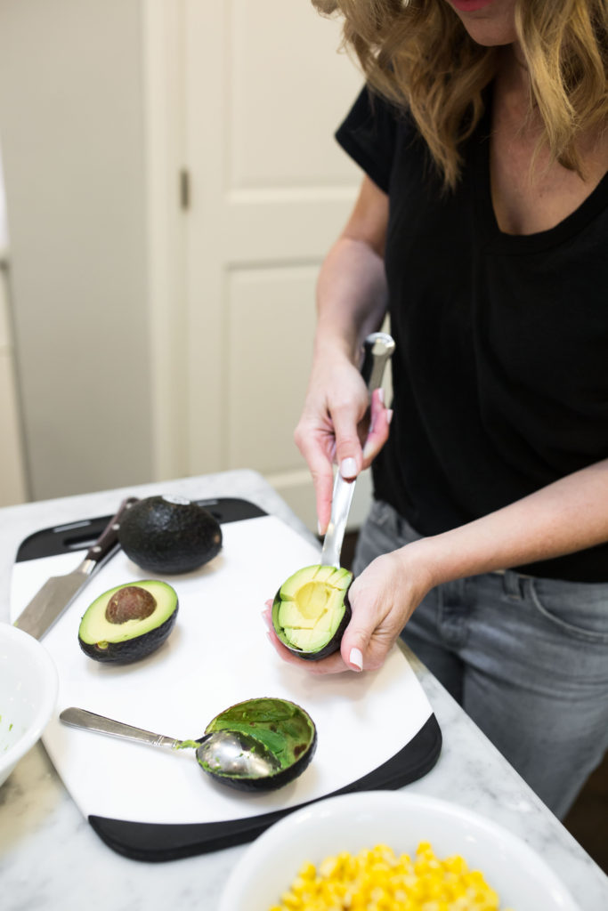 slicing an avocado