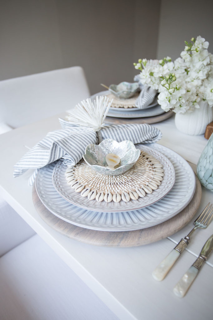 neutral beach-themed table decor