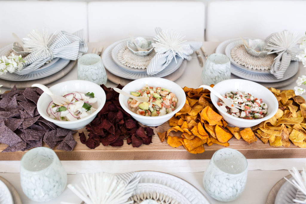 ceviche and edible table runner