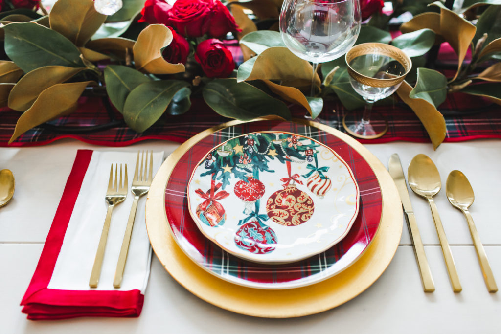 Classic red and green Christmas place setting