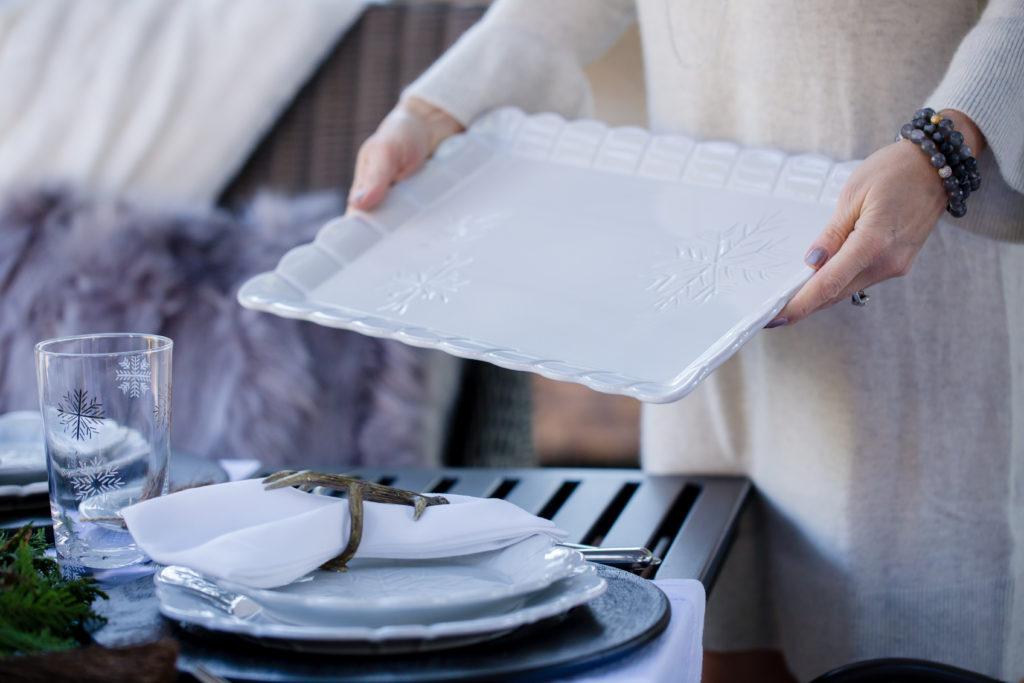 Scalloped Edge Rectangular White Platter