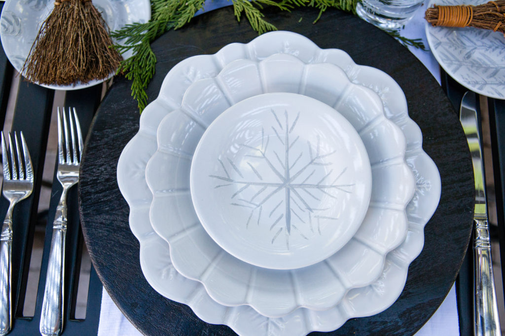 Carved scalloped white plates
