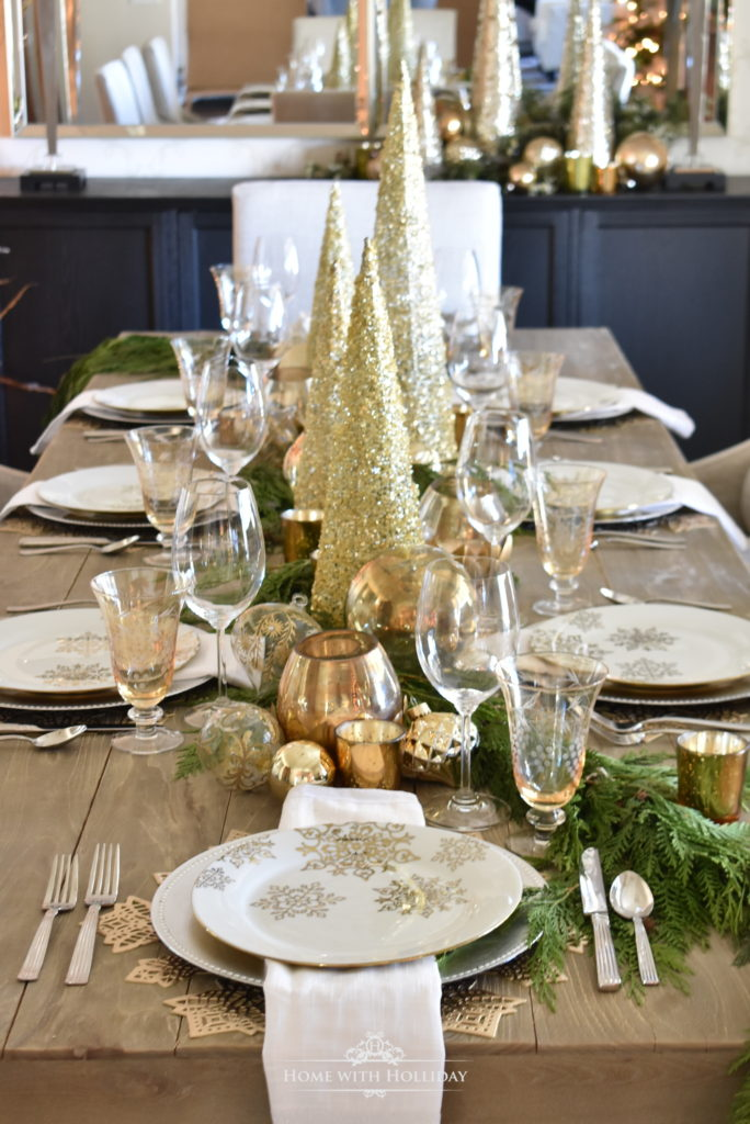 gold and silver holiday table