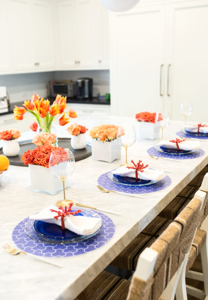 blue, white & coral table place setting