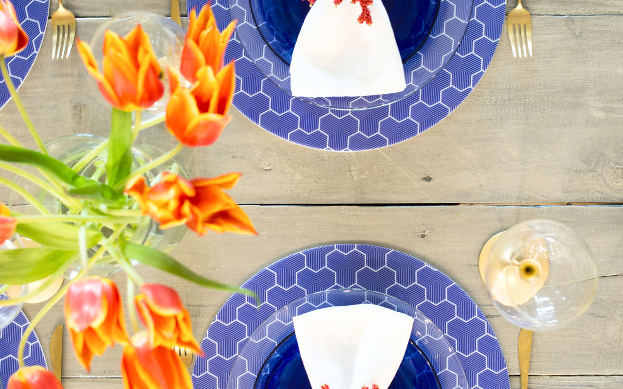 blue, white & coral table