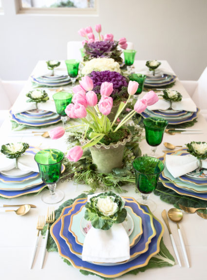 This is Your Easter Table: Pastels, Prints, Flowers and Cabbage