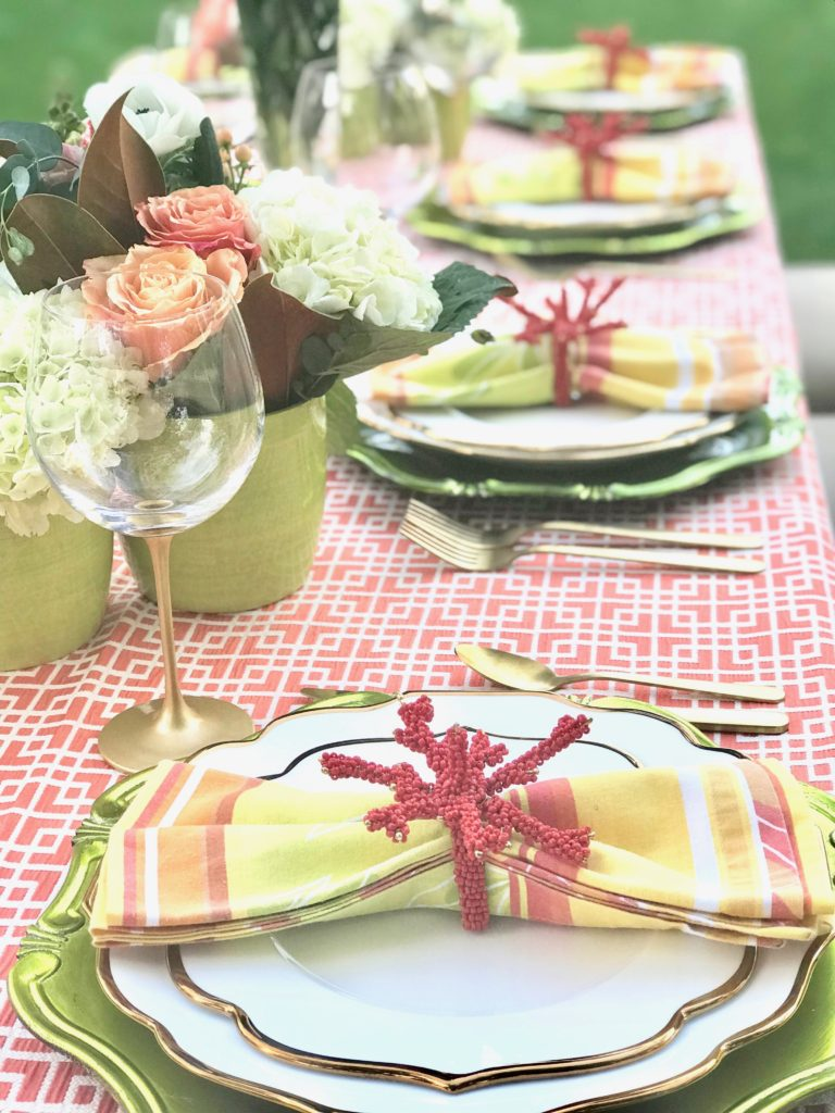coral place setting