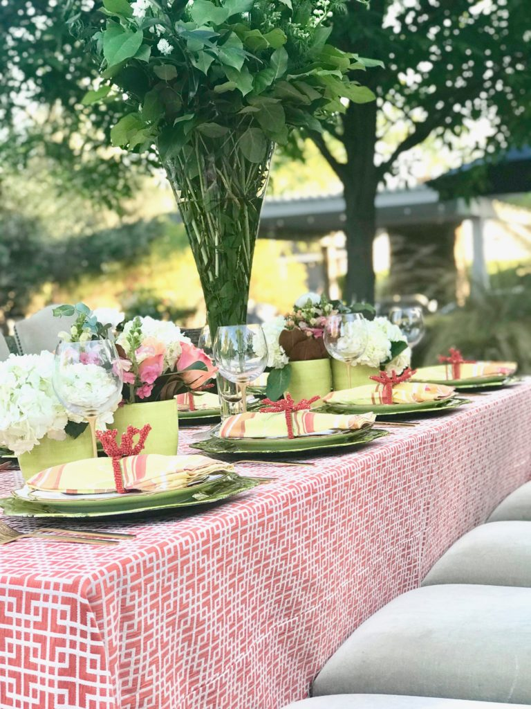 coral lawn party table