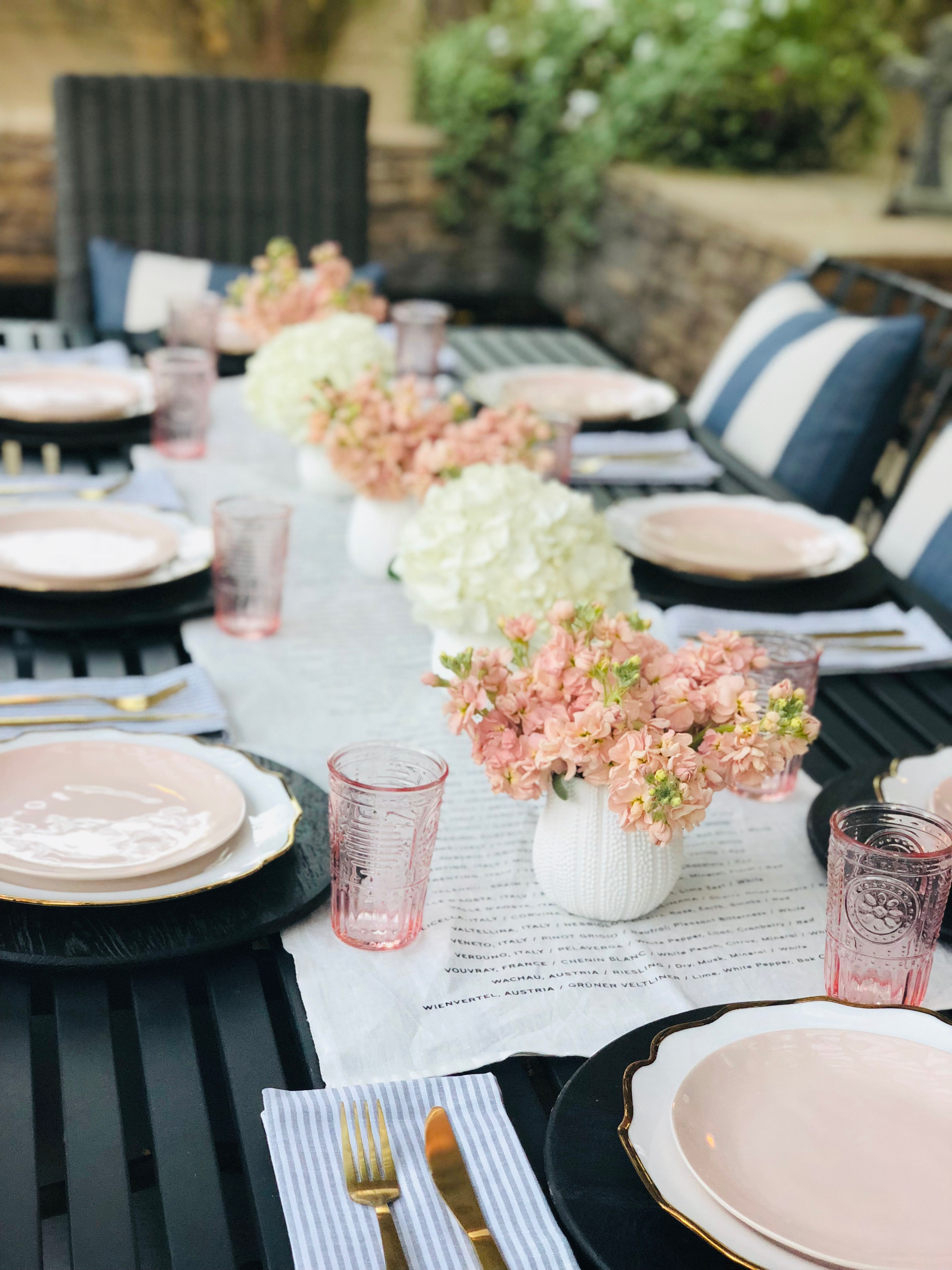 White and Pink Poolside Table: Casual Summer Dining