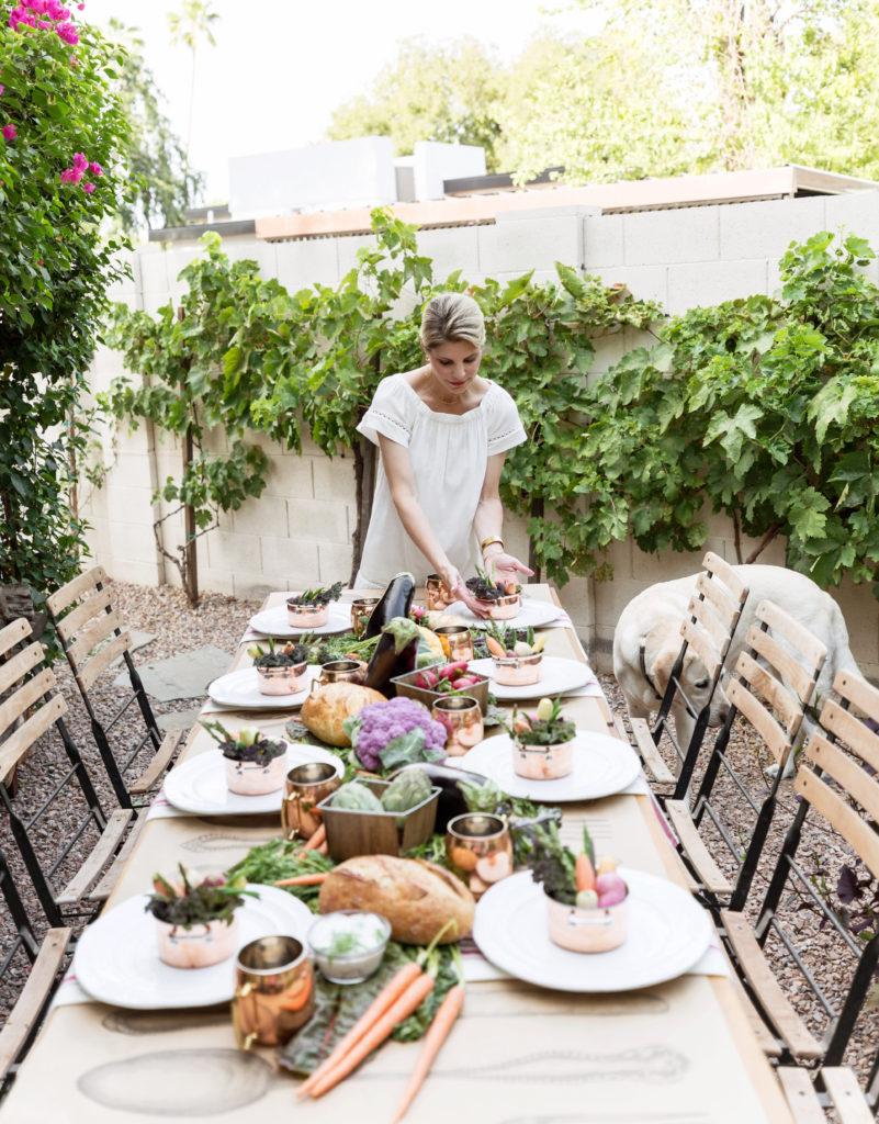 farmer's market inspired dinner tablescape