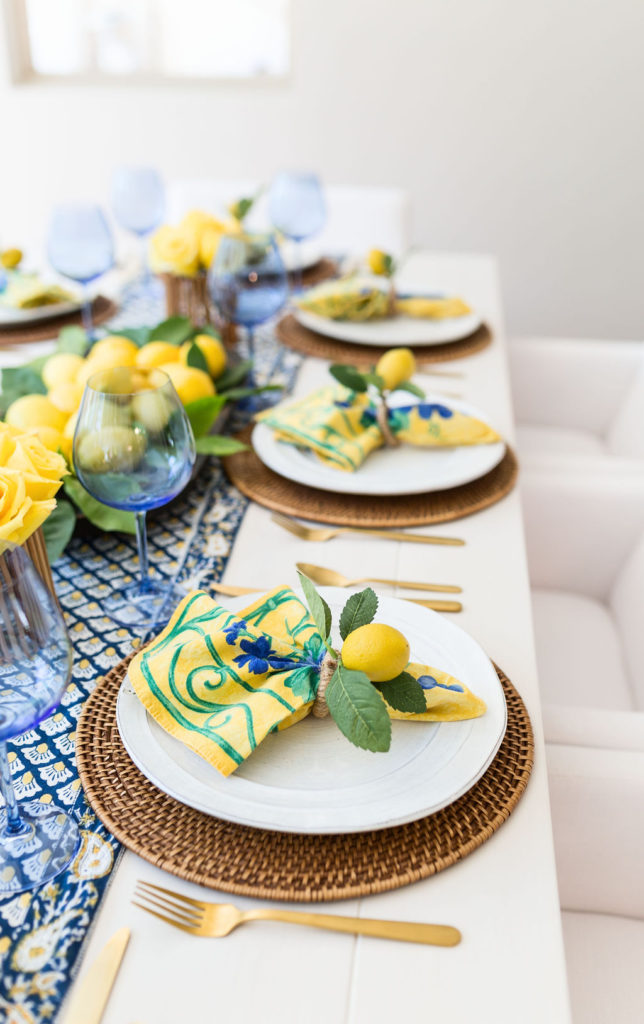 yellow and blue table