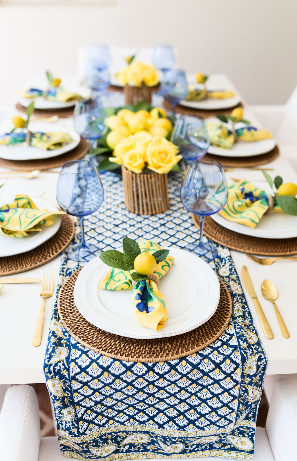 French Country Decor Yellow Blue Summer Table