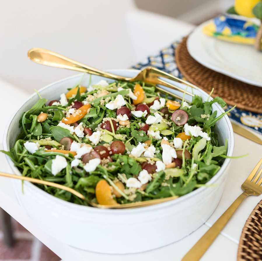 Arugula Apricot Salad with Grapes, Marcona Almonds & Goat Cheese