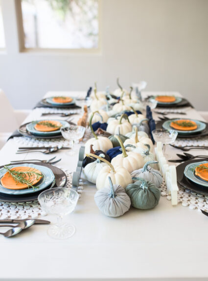 Blue Pumpkin Table: Unique Fall Decor