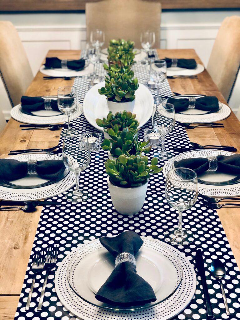 white and black polka dot table