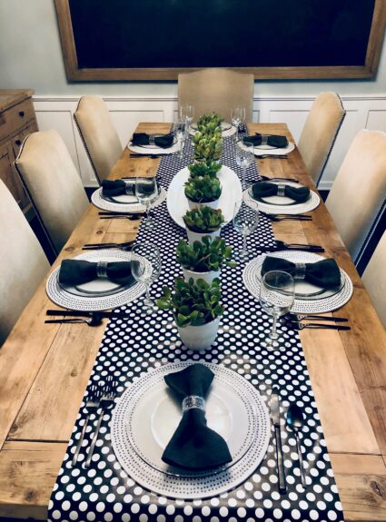 Black and White Polka Dot Table
