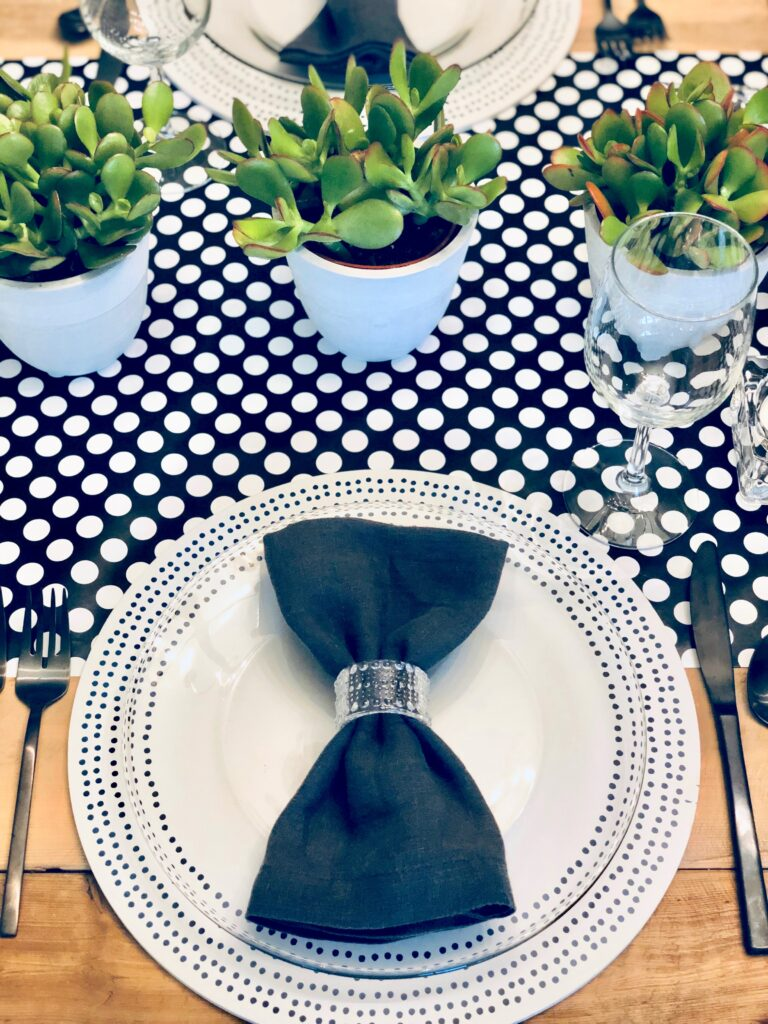 black and white polka dot table