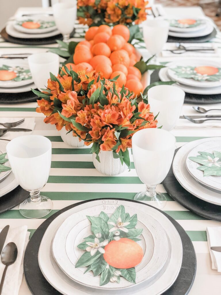 green and orange table