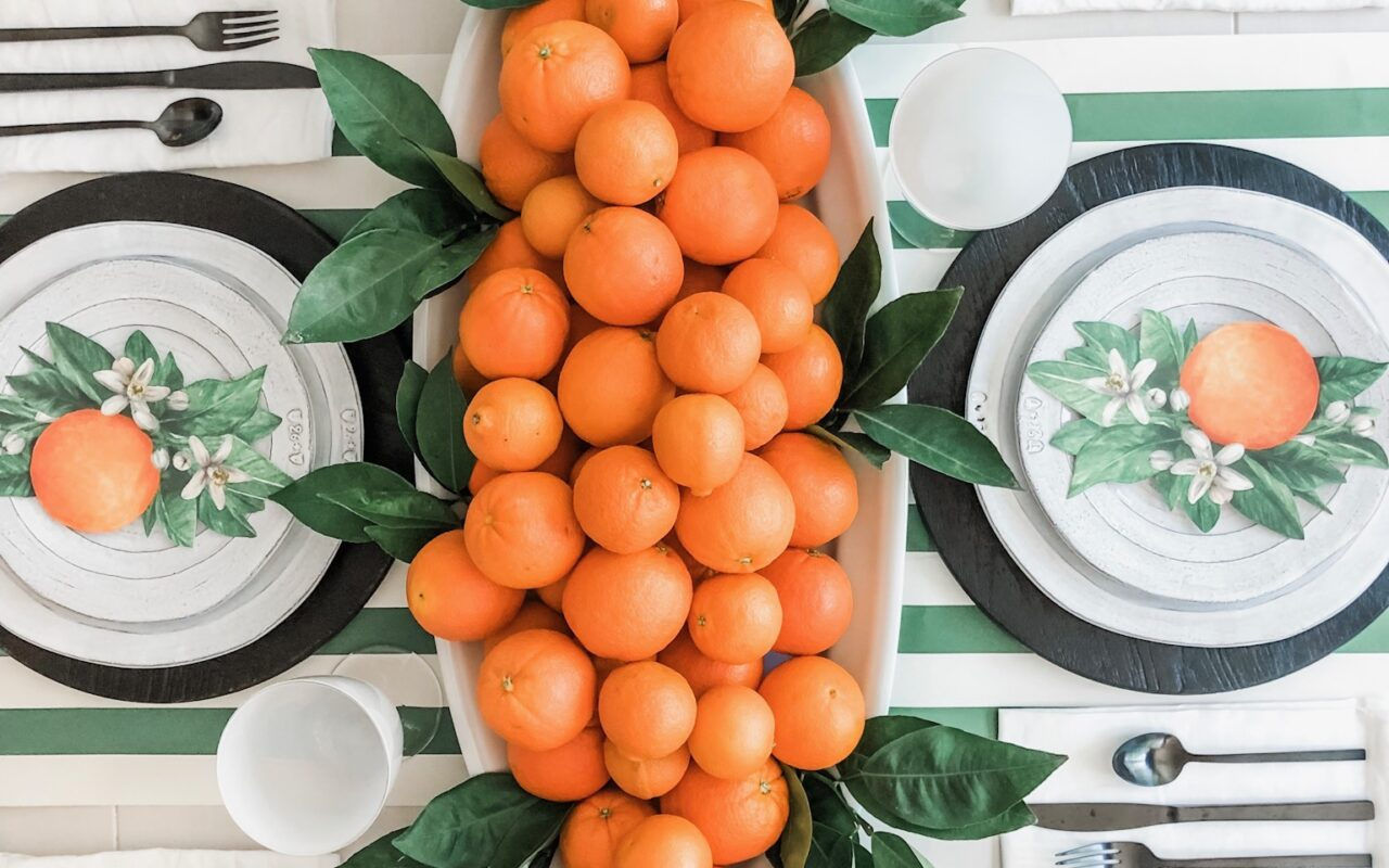 green and orange table decor