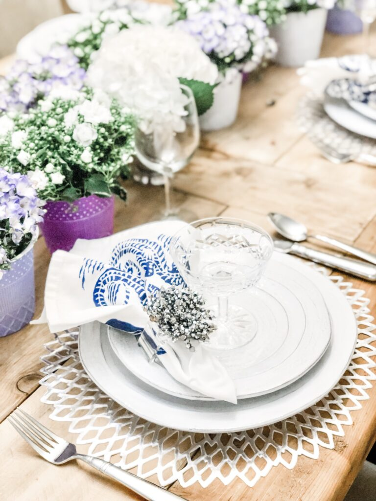 purple and white table