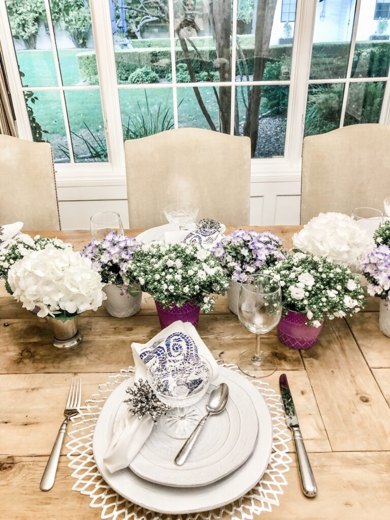 purple and white table decor