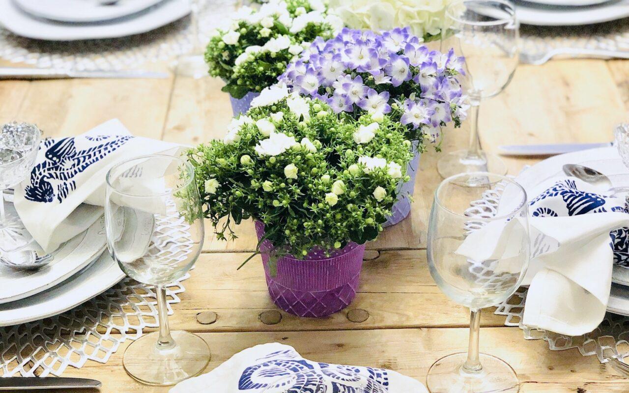 purple and white table decor