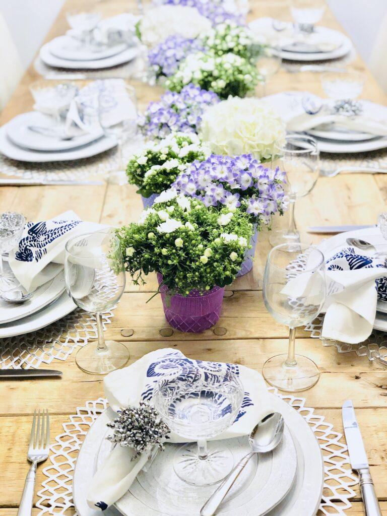 purple and white decor