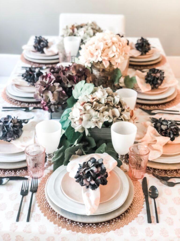 blush and eggplant table
