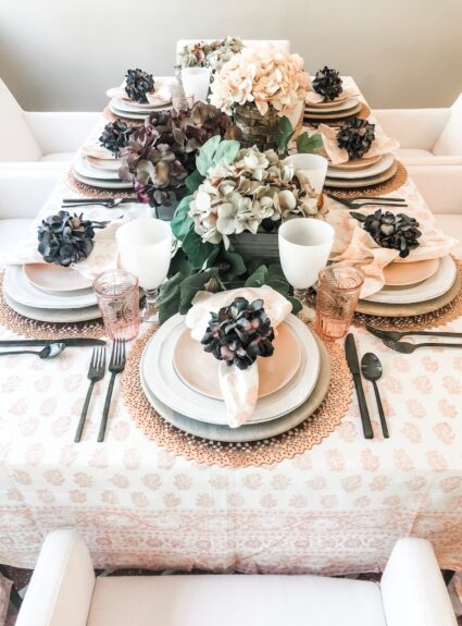 Blush and Eggplant Table Setting