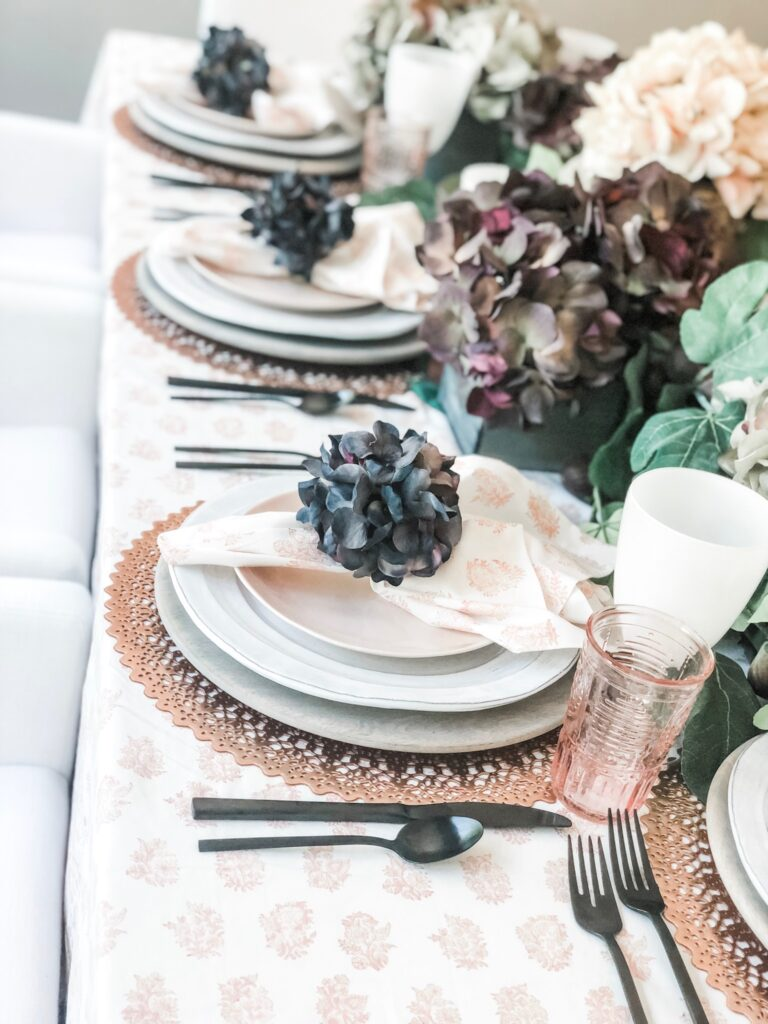 blush and eggplant table setting