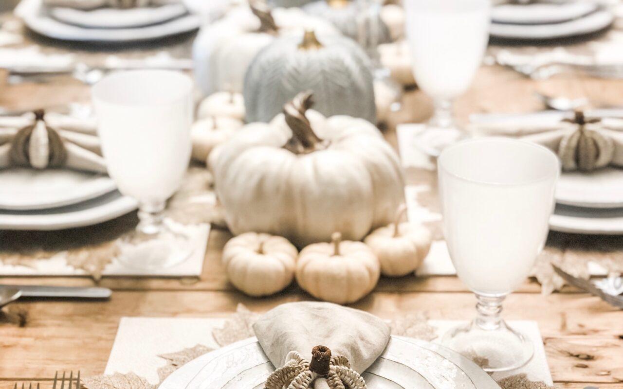 white fall table