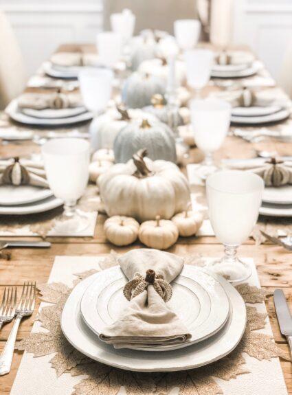 White Fall Table: Neutral Pumpkin Decor