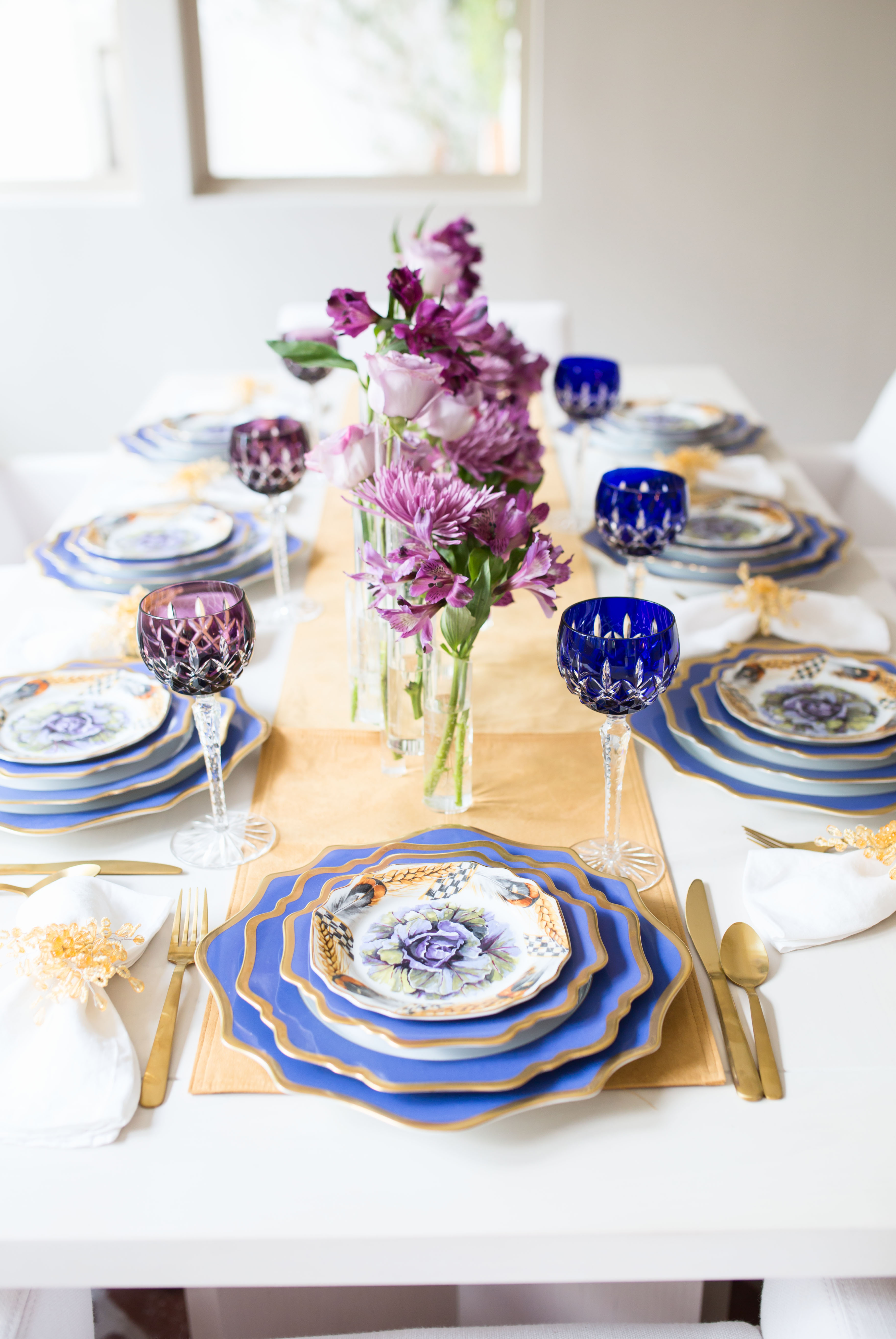 Purple Thanksgiving Table: Wheat Stalks and Glam