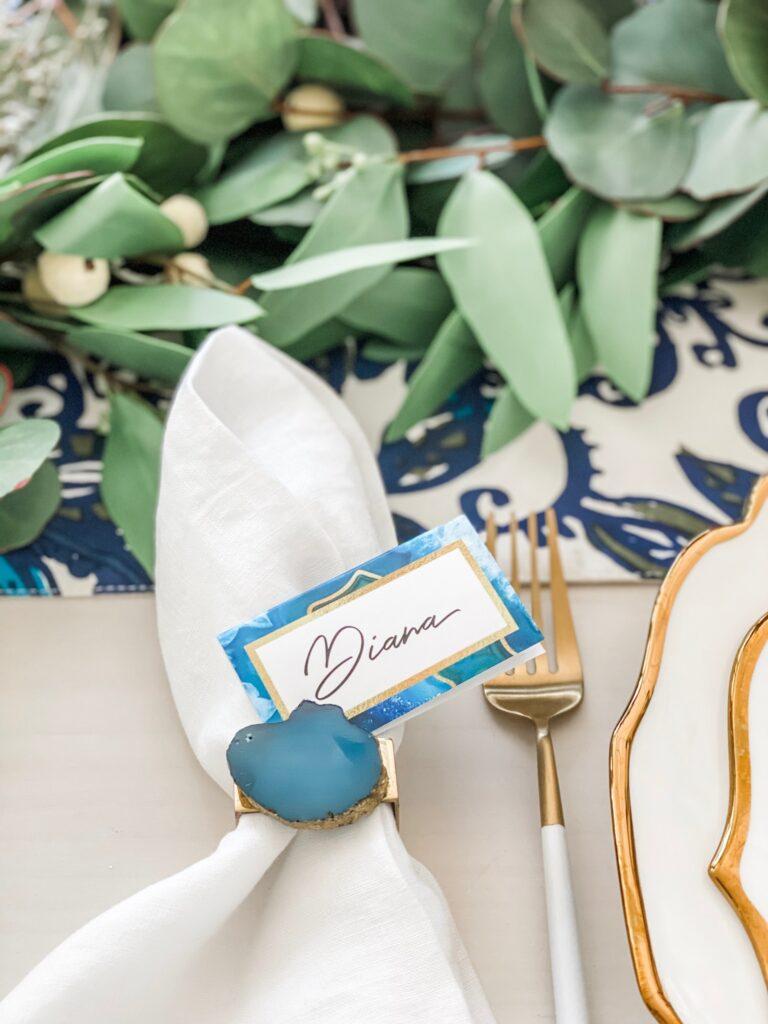 blue napkin rings