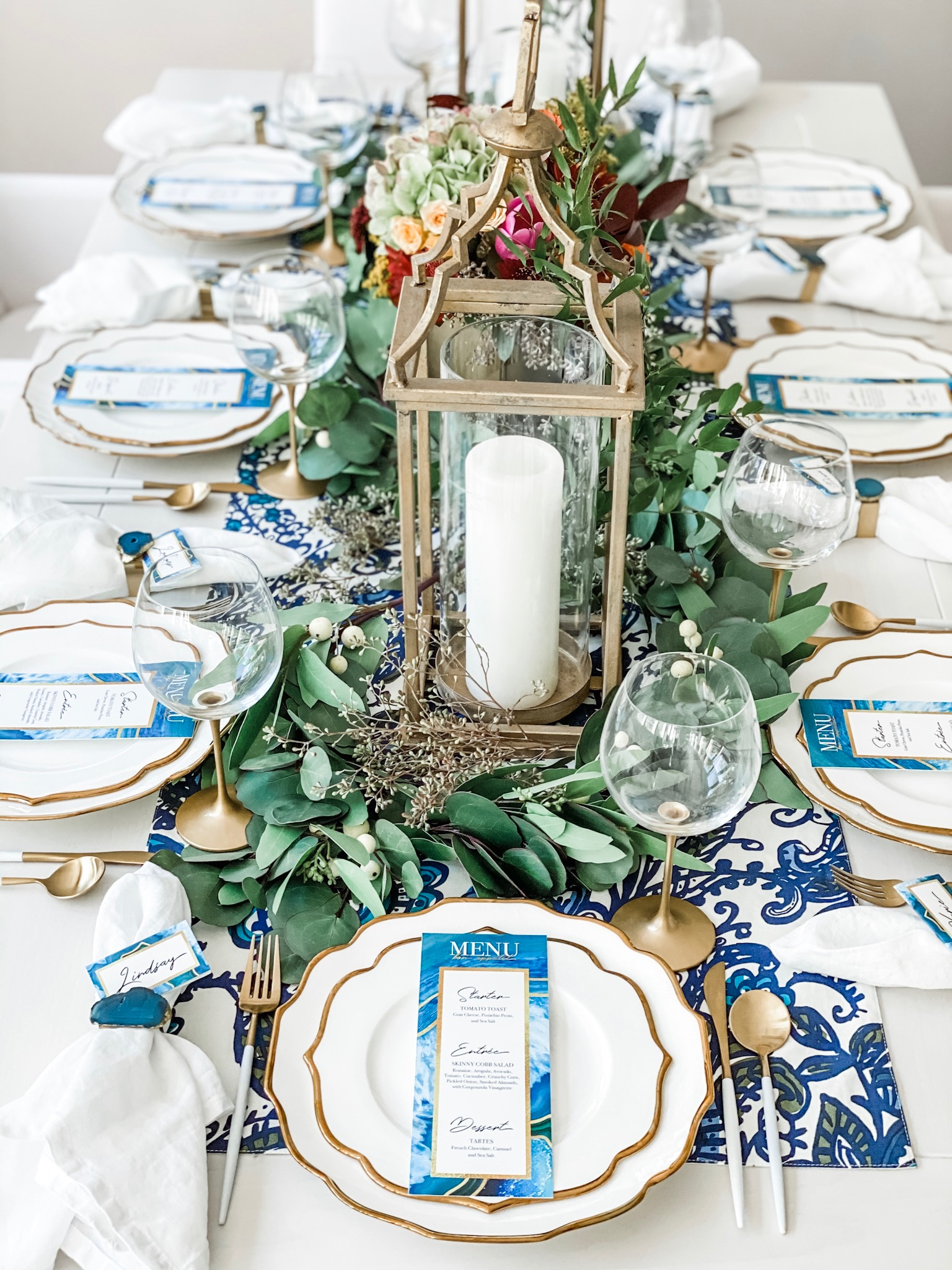 Winter Blue Table with Natural Agate Touches